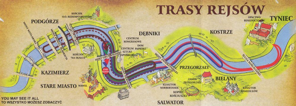 Trasy Rejsów Statkiem po Wiśle w Krakowie